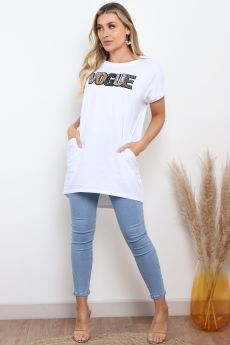 VOGUE EMBELLISHED OVERSIZED TOP IN WHITE