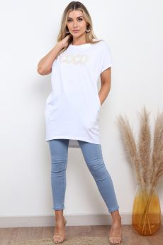 COCO EMBELLISHED OVERSIZED TOP IN WHITE