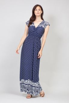 PRINTED MAXI DRESS IN NAVY