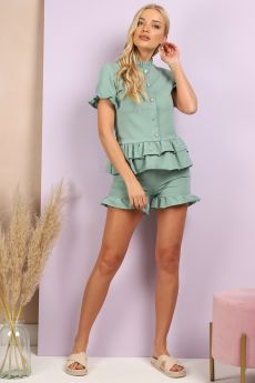 BUTTON DETAILS FRILL HEM CO-ORD SET IN GREEN