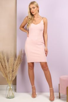 RIBBED CHAIN DETAILS DRESS IN PINK