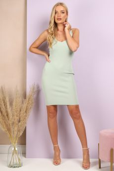 RIBBED CHAIN DETAILS DRESS IN MINT