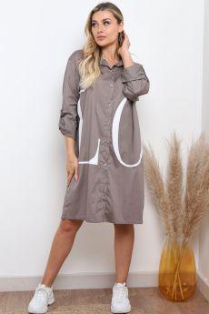GREY OVERSIZED PRINTED LOVE SHIRT DRESS