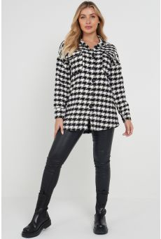 DOGTOOTH LONG OVERSHIRT IN WHITE