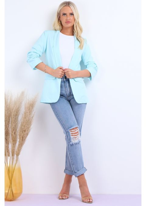 SHAWL COLLAR FULLY LINED FLAP DETAIL BLAZER IN MINT
