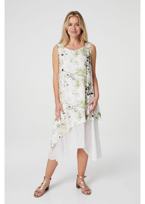BUTTERFLY PRINT LAYERED SWING DRESS IN GREEN