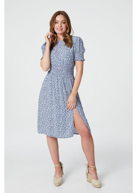 DITSY FLORAL SHIRRED WAIST DRESS IN BLUE