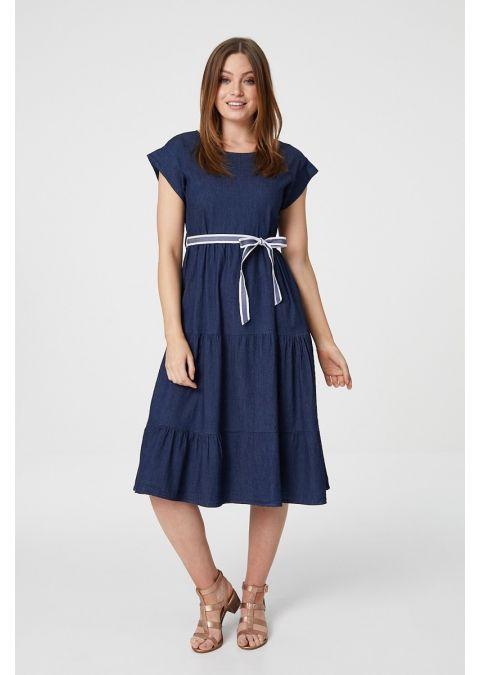 DENIM SHORT SLEEVE SMOCK DRESS IN BLUE
