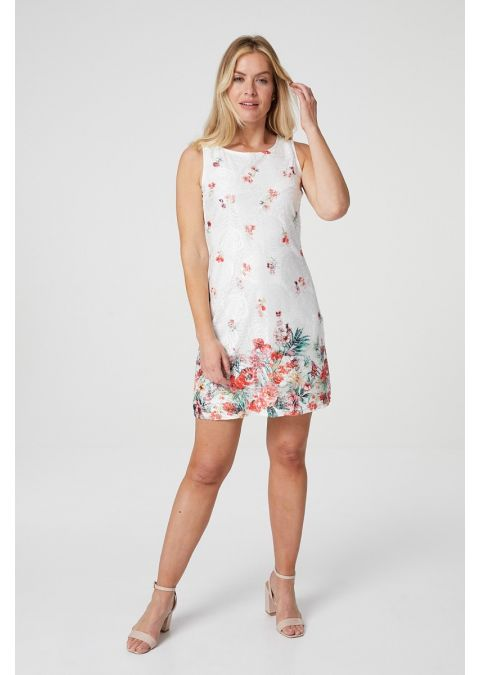 FLORAL SLEEVELESS LACE SHIFT DRESS IN WHITE