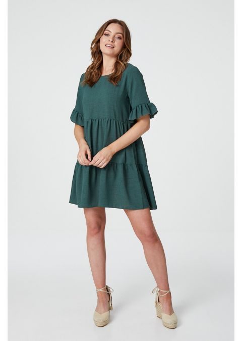 FRILLED SLEEVE TIERED SMOCK DRESS IN GREEN