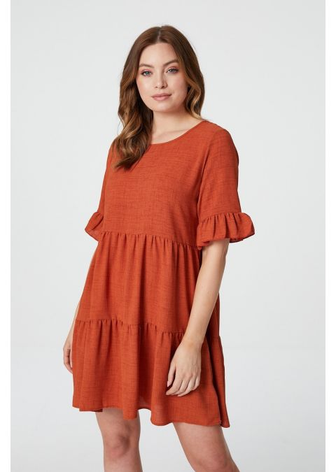 FRILLED SLEEVE TIERED SMOCK DRESS IN RUST