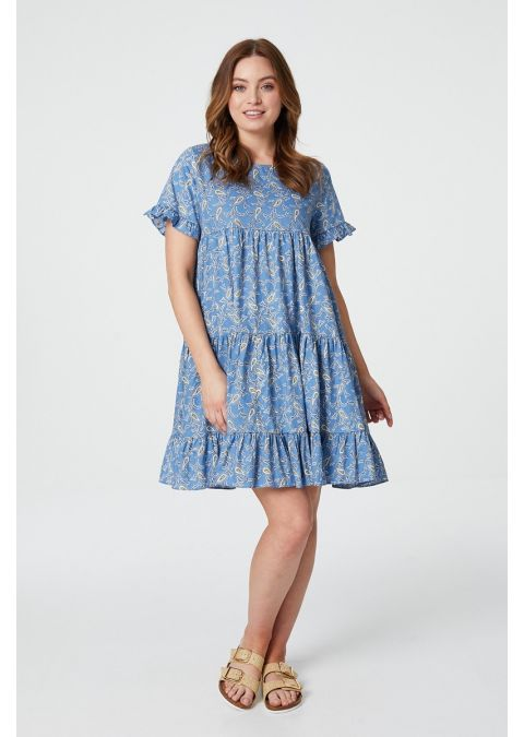 PAISLEY BABY DOLL SMOCK DRESS IN BLUE