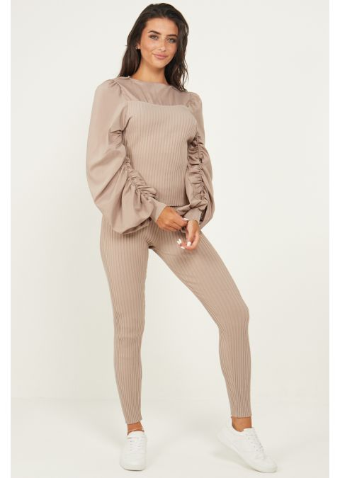 RUCHED SLEEVES RIB KNIT CO-ORD SET IN BEIGE
