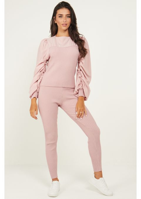 RUCHED SLEEVES RIB KNIT CO-ORD SET IN PINK