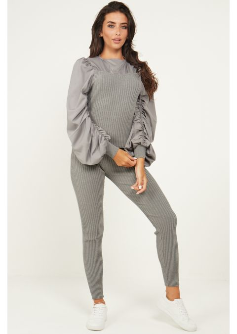 RUCHED SLEEVES RIB KNIT CO-ORD SET IN GREY