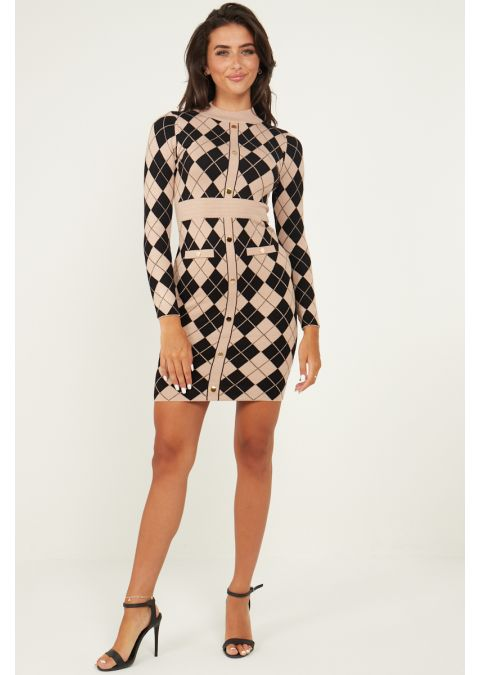 GOLD BUTTON DETAIL CHECKED KNIT DRESS IN BEIGE