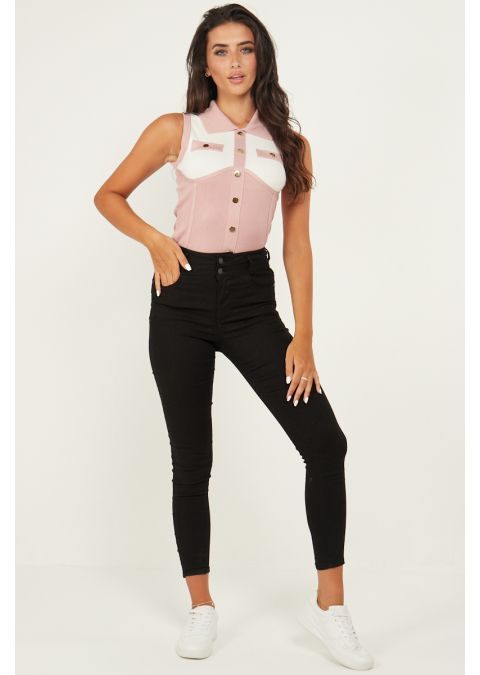 GOLD BUTTON DETAILS TWO TONE BODYSUIT IN PINK
