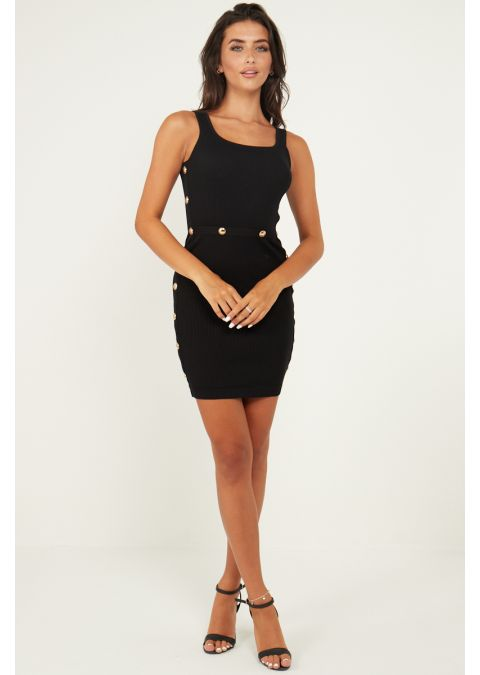 GOLD BUTTON DETAILS RIB KNIT DRESS IN BLACK