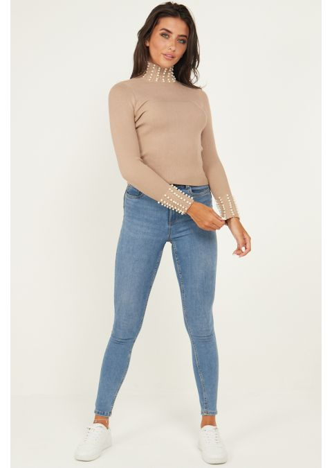 PEARL DETAILS HIGH NECK RIB KNIT TOP IN CAMEL