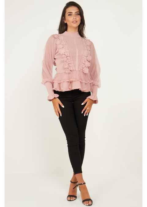 SHEER MESH & LACE FRONT RIB KNIT TOP IN PINK