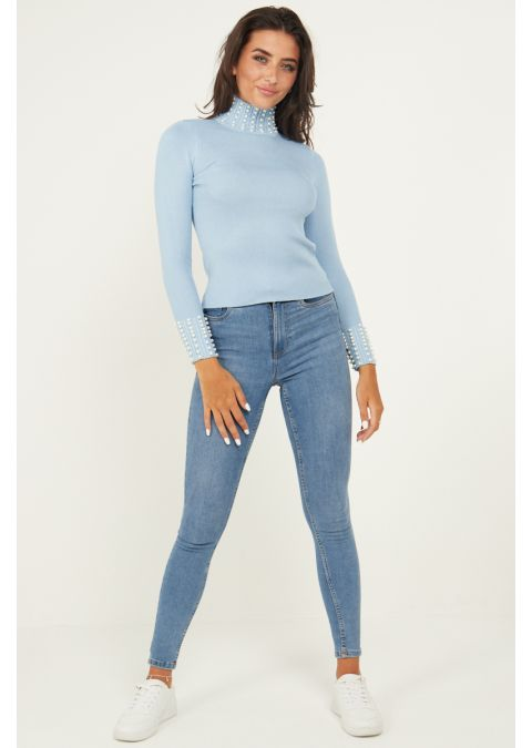 PEARL DETAILS HIGH NECK RIB KNIT TOP IN BLUE