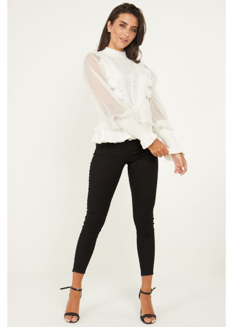 SHEER MESH & LACE FRONT RIB KNIT TOP IN WHITE