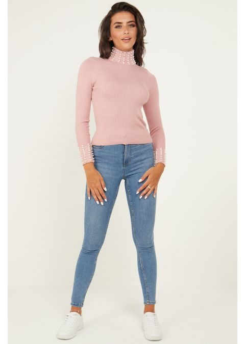 PEARL DETAILS HIGH NECK RIB KNIT TOP IN PINK