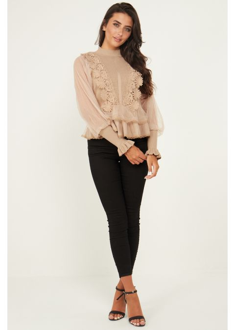 SHEER MESH & LACE FRONT RIB KNIT TOP IN BEIGE