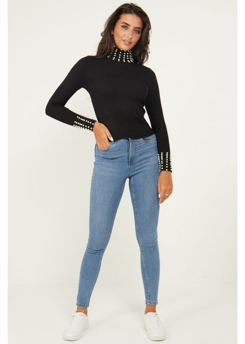 PEARL DETAILS HIGH NECK RIB KNIT TOP IN BLACK