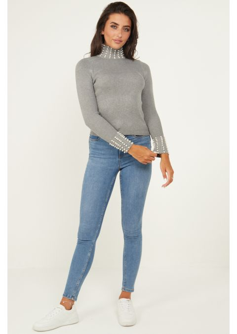 PEARL DETAILS HIGH NECK RIB KNIT TOP IN GREY