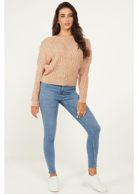 PEARL DETAILS CABLE KNIT JUMPER IN BEIGE