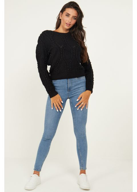 PEARL DETAILS CABLE KNIT JUMPER IN BLACK
