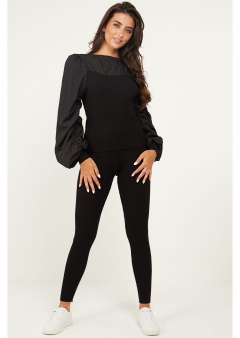 RUCHED SLEEVES RIB KNIT CO-ORD SET IN BLACK