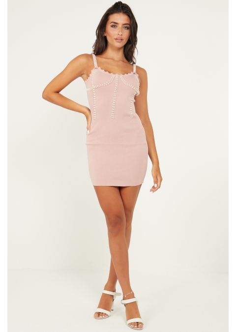 PEARL DETAILS RIB KNIT BODYCON DRESS IN PINK