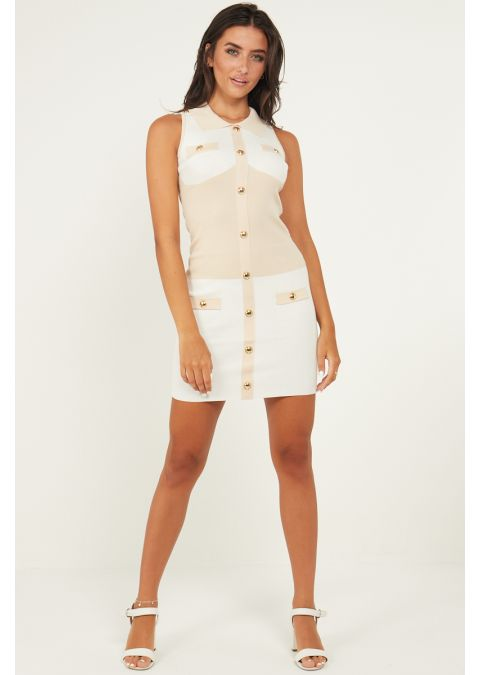 GOLD BUTTON DETAIL TWO TONE DRESS IN BEIGE