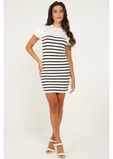 GOLD BUTTONS FRILL SHOULDERS STRIPED DRESS IN WHITE