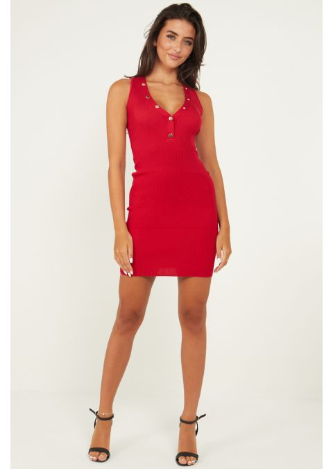 V NECK GOLD BUTTONS RIB KNIT DRESS IN RED