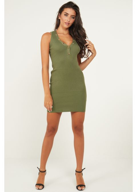 V NECK GOLD BUTTONS RIB KNIT DRESS IN GREEN