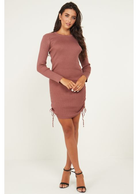 DRAWSTRING RUCHED SIDE RIB KNIT DRESS IN PALE PINK