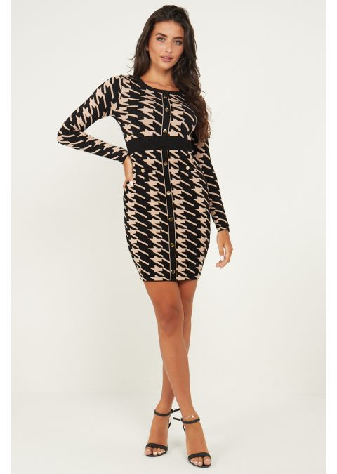 DOGTOOTH GOLD BUTTONS DETAILS KNIT DRESS IN BLACK