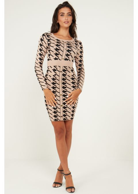 DOGTOOTH GOLD BUTTON DETAILS KNIT DRESS IN BEIGE