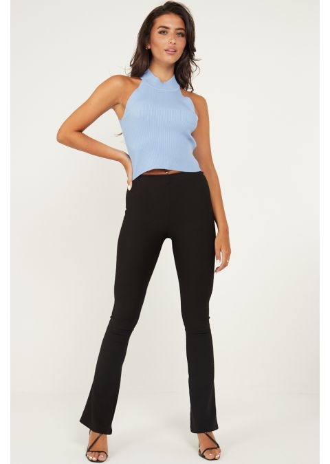 HIGH NECK RIB-KNIT CROP TOP IN BLUE