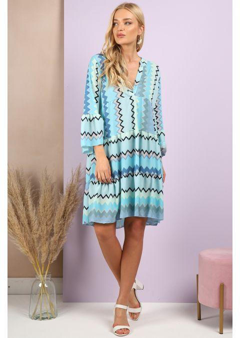 ZIG ZAG PRINT SMOCK DRESS