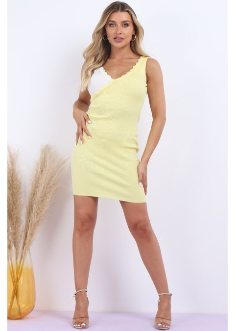 RIBBED 2 TONE BODYCON DRESS IN YELLOW