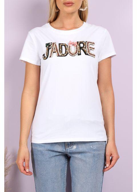 J'ADORE EMBELLISHED PRINTED WHITE T-SHIRT