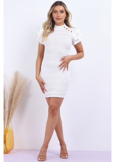 FRILL SLEEVES BUTTON DETAIL KNITTED DRESS IN CREAM
