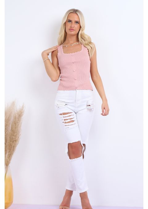 SLEEVELESS BUTTON DETAIL RIBBED TOP IN PINK