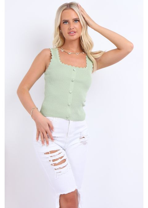 SLEEVELESS BUTTON DETAIL RIBBED TOP IN MINT