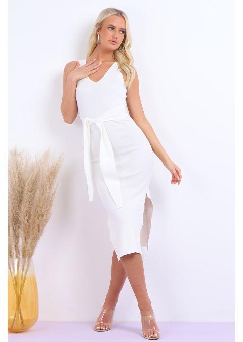PLAIN TIE UP WAIST DRESS IN WHITE