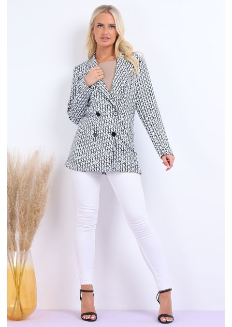 WHITE PRINTED DOUBLE BREASTED BLAZER